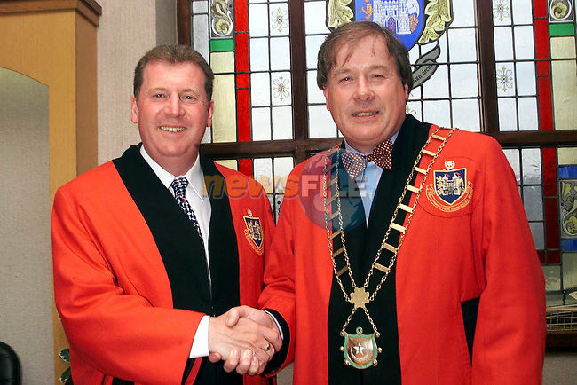 Incoming Mayor Cllr. Frank Godfrey being congratulated by his brother and fellow councillor Malachy after his election in the corporation chambers on Monday night..Picture Paul Mohan Newsfile