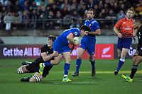 NZ's Scott Barrett tackles France's Anthony Belleau during the Steinlager Series international rugby match between the New Zealand All Blacks and France at Westpac Stadium in Wellington, New Zealand on Saturday, 16 June 2018. Photo: Dave Lintott / lintottphoto.co.nz