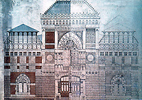 Frank Furness: Pennsylvania Academy of Art. Elevation, drawing. 1872.