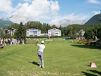 Jack Singh Brar (ENG) in action on the 8th hole during third round at the Omega European Masters, Golf Club Crans-sur-Sierre, Crans-Montana, Valais, Switzerland. 31/08/19.<br /> Picture Stefano DiMaria / Golffile.ie<br /> <br /> All photo usage must carry mandatory copyright credit (© Golffile | Stefano DiMaria)