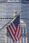 American flag and Manhattan architecture
