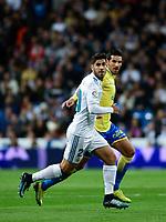 Real Madrid's Marco Asensio  and UD Las Palmas' Vicente Gomez during La Liga match. November 5,2017. (ALTERPHOTOS/Inma Garcia)