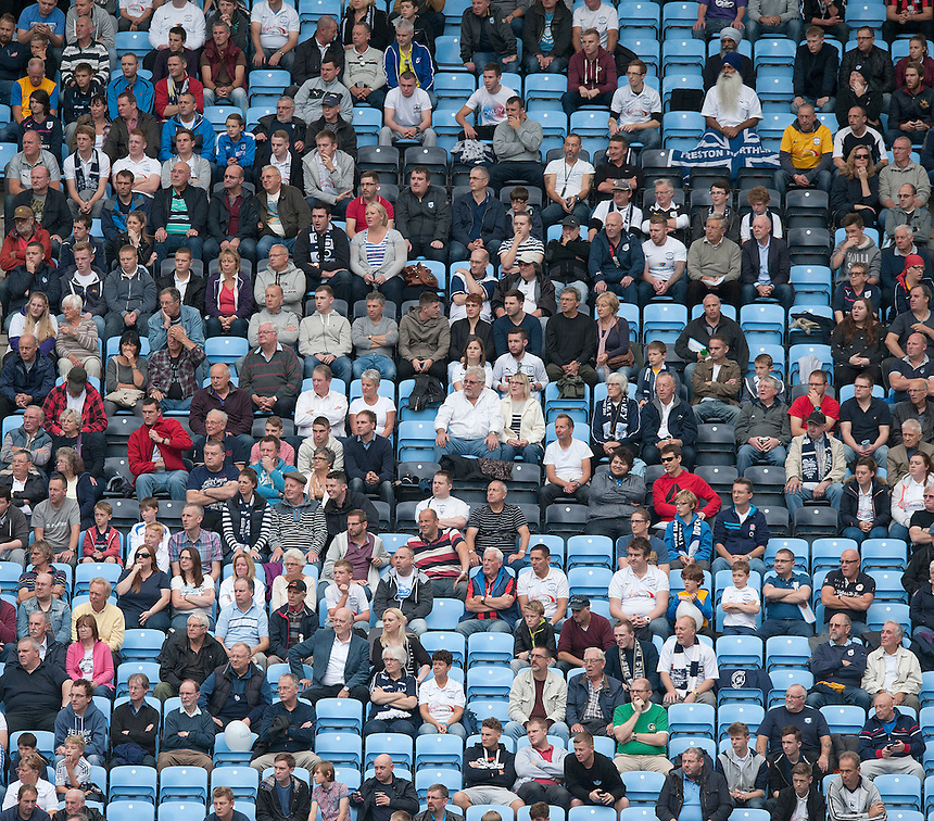 Preston North End fans watch their team win 2-0<br /> <br /> Photographer Stephen White/CameraSport<br /> <br /> Football - The Football League Sky Bet League One - Coventry City v Preston North End - Saturday 27th September 2014 - Ricoh Stadium - Coventry<br /> <br /> &copy; CameraSport - 43 Linden Ave. Countesthorpe. Leicester. England. LE8 5PG - Tel: +44 (0) 116 277 4147 - admin@camerasport.com - www.camerasport.com