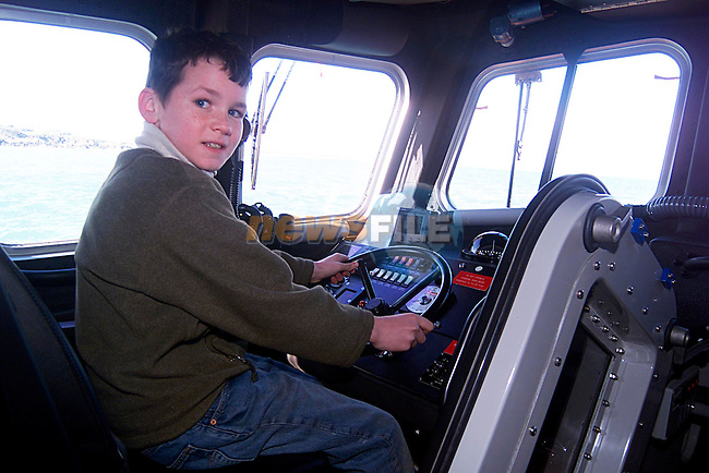 Ronon Walsh at the Wheel of the New Lifeboat in Clogherhead...Pic Tony Campbell/Newsfile