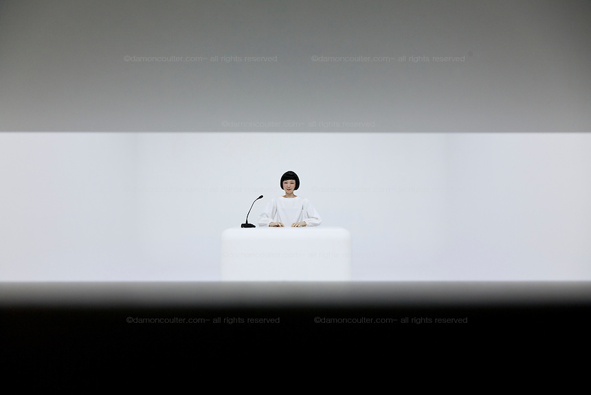 The Kodomorid lifelike robott child reads the news at the Miraiken Science Museum, Odaiba, Tokyo. Japan. Friday June 27th 2014. Created by Osaka University robotics professor, Hiroshi Ishiguro the Kodomoroid robot is linked to the internet where it relays news reports and are meant to make us question what it means to be human