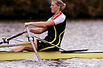 Rowing, Woman rowing single racing shell, Head of the Charles Regatta, Cambridge, Massachusetts, Charles River, New England, USA, Amy Howat,