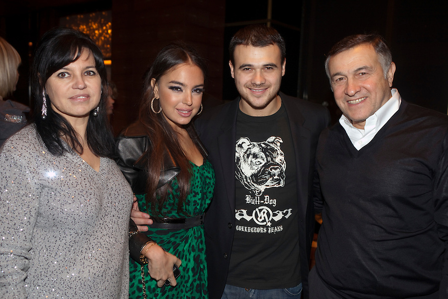 "Moscow, Russia, 07/03/2011..Azerbaijani rock singer Emin Agalarov with mother Irina, wife Leila Alieva, daugher of Azerbaijan President Ilkham Aliev, and father Aras. Agalarov has released 5 albums, and his first UK album ""Memory"" is due for release. He is also the commercial director of the Crocus International company, founded by his father."