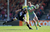 Newcastle Falcons' Toby Flood evades the tackle of Exeter Chiefs' Jonny Hill<br /> <br /> Photographer Bob Bradford/CameraSport<br /> <br /> Aviva Premiership Play-Off Semi Final - Exeter Chiefs v Newcastle Falcons - Saturday 19th May 2018 - Sandy Park - Exeter<br /> <br /> World Copyright &copy; 2018 CameraSport. All rights reserved. 43 Linden Ave. Countesthorpe. Leicester. England. LE8 5PG - Tel: +44 (0) 116 277 4147 - admin@camerasport.com - www.camerasport.com