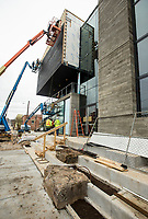 NWA Democrat-Gazette/BEN GOFF @NWABENGOFF<br /> Natural stone is being used as a feature outside the entrance Friday, March 1, 2019, at the new TheatreSquared building under construction in downtown Fayetteville.