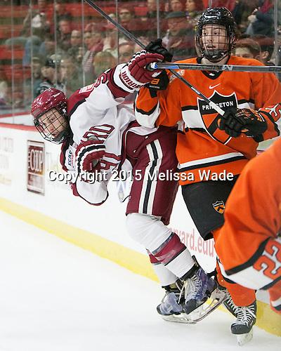Jake Horton (Harvard - 91), Tommy Davis (Princeton - 25) - The Harvard University Crimson defeated the visiting Princeton University Tigers 5-0 on Harvard's senior night on Saturday, February 28, 2015, at Bright-Landry Hockey Center in Boston, Massachusetts.