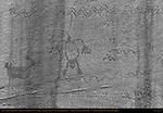 Shaman or Chief Struck by Lightning, Pronghorn Antelope and Snakes (inversion), Eye of the Sun Petroglyph Wall, Monument Valley Navajo Tribal Park, Navajo Nation Reservation, Utah/Arizona Border
