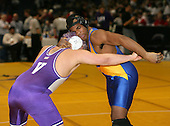 Robert Eskander and James Chaplin wrestle at the 215 weight class during the NY State Wrestling Championships at Blue Cross Arena on March 8, 2008 in Rochester, New York.  (Copyright Mike Janes Photography)