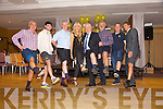 Ogie Moran, Cormac Coffey, Sean Walsh, Miriam O'Callaghan, Jimmy Deenihan, Eoin Liston, Noel Kennelly and Maurice Fitzgerald  at the 'Kerry GAA Stars Lovely Legs Competition'  in aid of Kerry Hospice at the Fels Point Hotel on Saturday night