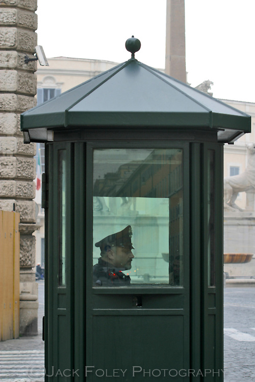 Police Officer inside a police bos in Rome, Italy