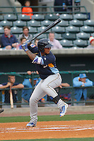 Myrtle Beach Pelicans shortstop Gleyber Torres (11) at bat during a game against the Charleston RiverDogs at Joseph P.Riley Jr. Ballpark on April 6, 2016 in Charleston, South Carolina. Myrtle Beach defeated Charleston  4-1. (Robert Gurganus/Four Seam Images)