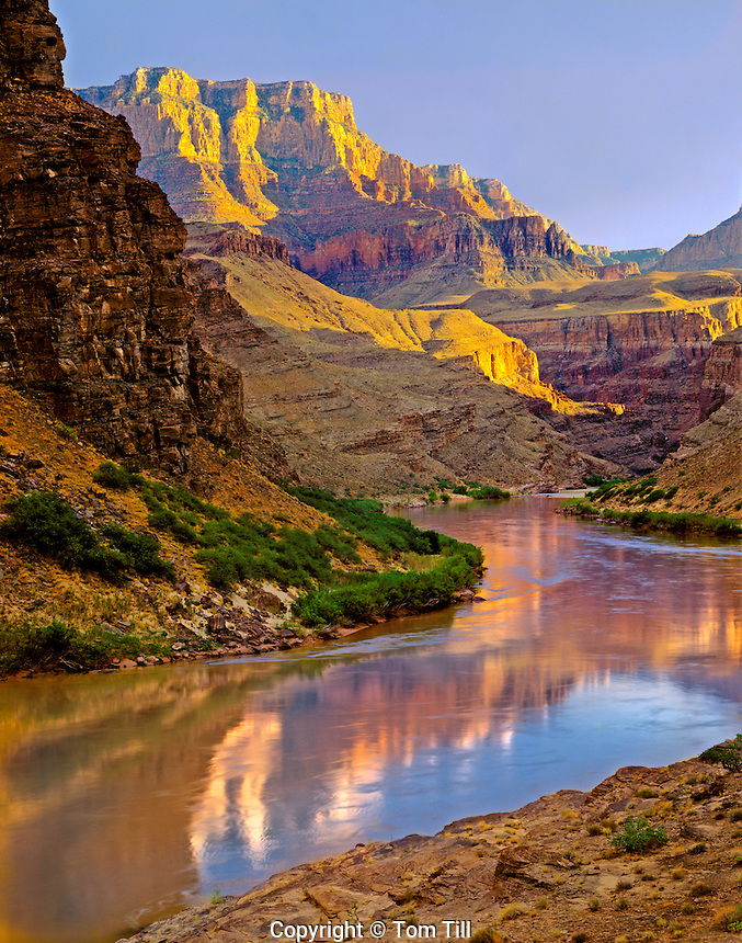 South Rim at sunset, Grand Canyon National Park, Arizona   Reflection in Colorado River  Above Hance Rapid