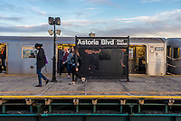 Astoria, New York - 11 March 2016 Subway commuters disembark the N train in Astoria.