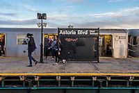 Astoria, New York - 11 March 2016 Subway commuters disembark the N train in Astoria.