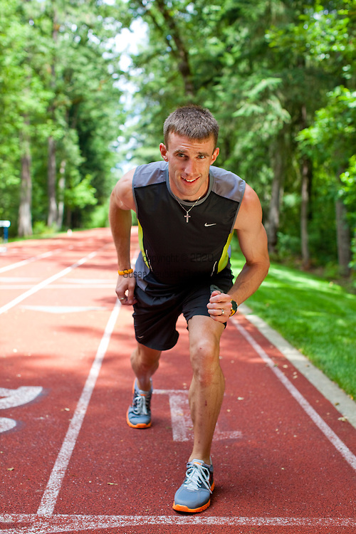 Chris Solinsky, the only non-African distance runner to finish the 10,000 meter in less than 27 minutes.  His build is also unique: he is not as slight as most distance runners, but more husky.  Photographed on Nike's campus in Beaverton, Oregon