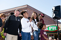 Morgan William speaking at downtown celebration for women's basketball team.<br />  (photo by Beth Wynn / &copy; Mississippi State University)