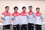 (L-R) Kenzo Shirai, Ryohei Kato, Kohei Uchimura, Yusuke Tanaka, Koji Yamamuro (JPN), <br /> JULY 19, 2016 - Artistic Gymnastics : <br /> Japan Men's Artistic Gymnastics national team send-off press conference <br /> for the Rio 2016 Olympic Games in Tokyo, Japan. <br /> (Photo by AFLO SPORT)