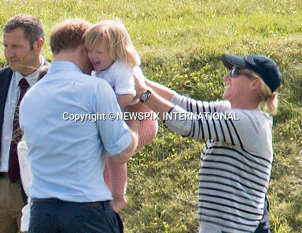 18.06.2016; Westonbirt, UK: PRINCE HARRY IN PLAYFUL MOOD<br /> Prince Harry displayed his playful side when he tickled and prodded his cousin 2-year-ol Mia Tindall.<br /> Prince Harry, Zara and Mia Tindall were watching Prince William play in a charity polo match in Gloucestershire<br /> Mandatory Credit Photo: &copy;Dias/NEWSPIX INTERNATIONAL<br /> <br /> (Failure to credit will incur a surcharge of 100% of reproduction fees)<br /> IMMEDIATE CONFIRMATION OF USAGE REQUIRED:<br /> Newspix International, 31 Chinnery Hill, Bishop's Stortford, ENGLAND CM23 3PS<br /> Tel:+441279 324672  ; Fax: +441279656877<br /> Mobile:  07775681153<br /> e-mail: info@newspixinternational.co.uk<br /> Please refer to usage terms. All Fees Payable To Newspix International
