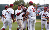STANFORD, CA - May 22, 2011: Stanford baseball teammates congratulate Tyler Gaffney after he scored the go-ahead run during Stanford's game against Arizona at Sunken Diamond. Stanford won 2-1.