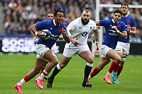 2nd February 2020, Stade de France, Paris; France, 6-Nations International rugby union, France versus England;  Teddy Thomas (France) - Romain Ntamack (France) gets into an open field run