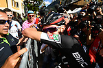 An emotional Tejay Van Garderen (USA) BMC Racing Team after winning Stage 18 of the 100th edition of the Giro d'Italia 2017, running 137km from Moena to Ortisei/St. Ulrich, Italy. 25th May 2017.<br /> Picture: LaPresse/Massimo Paolone | Cyclefile<br /> <br /> <br /> All photos usage must carry mandatory copyright credit (&copy; Cyclefile | LaPresse/Massimo Paolone)