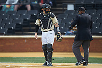 Wake Forest Demon Deacons catcher Brendan Tinsman (9) on defense against the Notre Dame Fighting Irish at David F. Couch Ballpark on March 10, 2019 in  Winston-Salem, North Carolina. The Demon Deacons defeated the Fighting Irish 7-4 in game one of a double-header.  (Brian Westerholt/Four Seam Images)
