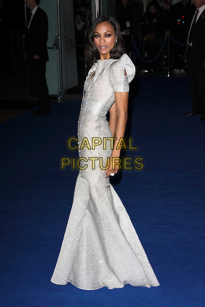 "ZOE SALDANA.Arrivals - World Premiere of ""Avatar"", Odeon Leicester Square, London, England..December 10th, 2009.full length grey gray silver dress shoulder pads long maxi gown fishtail beads beaded side .CAP/AH.©Adam Houghton/Capital Pictures."