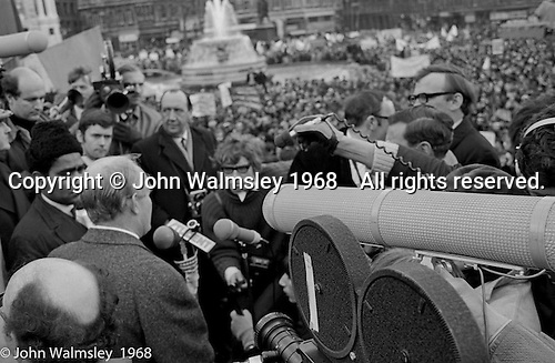Addressing the crowds, anti-Vietnam war demonstration march from Trafalgar Sq to Grosvenor Sq Sunday 17th March 1968.  A young Richard Branson is visible holding a microphone.  At the time, I think he was editor of a student magazine.