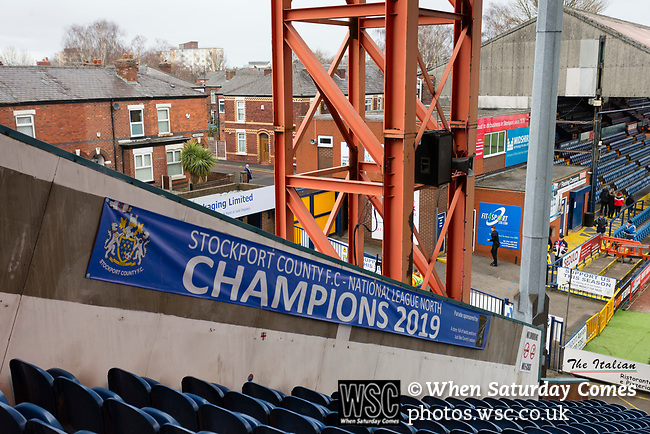 Early arrivals seen from The Cheadle End. Stockport County v Barnet, 07032020. Edgeley Park, National League. Photo by Paul Thompson.