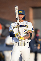Michigan Wolverines outfielder Jordan Brewer (22) at the pate against the Rutgers Scarlet Knights on April 26, 2019 in the NCAA baseball game at Ray Fisher Stadium in Ann Arbor, Michigan. Michigan defeated Rutgers 8-3. (Andrew Woolley/Four Seam Images)