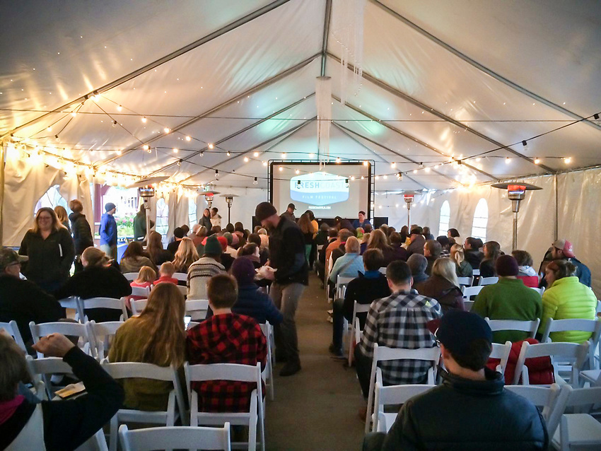 WEB RESOLUTION: Opening night under a large tent for the inaugural Fresh Coast Film Festival in Marquette, Michigan.