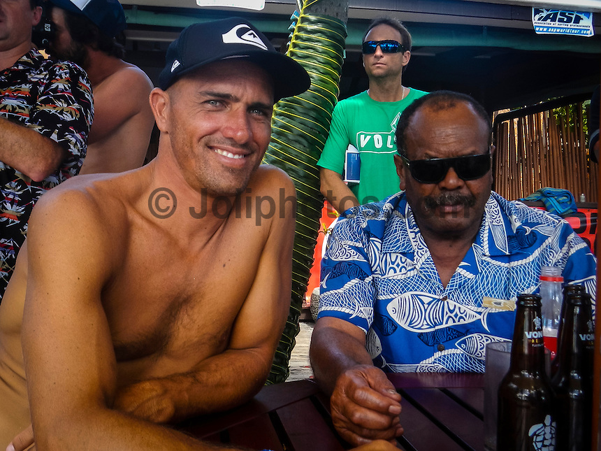 CLOUDBREAK, Tavarua/Fiji (Monday, June 11, 2012) - Kelly Slater (USA), 40, reigning 11-time ASP World Champion, claimed his 49th elite tour victory today, taking out the Volcom Fiji Pro over Gabriel Medina (BRA), 19, in pumping four-to-six foot (1.5 - 2 metre) surf at Cloudbreak..                .Event No. 4 of 10 on the 2012 ASP World Championship Tour, the Volcom Fiji Pro culminated in exciting fashion today, with Slater and Medina each pushing the limits of high-performance surfing at the famed, oceanic lefthander.. .Slater wasted no time in the Final against his young opponent, grabbing an 8.33 and a 9.83 in the opening half of the bout to put Medina on the ropes. The Brazilian, however, would not back down, claiming an 8.60 to put himself back in the hunt. Slater limited his scoreline to his two opening rides, and it proved enough for the Floridian to scalp the win as well as his first man-on-man victory over Medina...Slater sent his first shots across the bow today during the Semifinals when the phenomenal natural-footer posted his second Perfect 10 of the event for a series of deep tube rides and critical turns.. CJ Hobgood (USA) and Mick Fanning (AUS) were =3rd. Fanning moved to the ratings lead with the result with Joel Parkinson and Slater = 2nd. .After an absence at the previous event in Rio de Janeiro, Slater?s win in Fiji moved him up from 8th to 2nd on the ASP World Championship Tour ratings..Photo: joliphotos.com