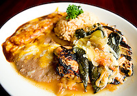 Chicken Tampiqueño dish comes with a boneless chicken breast topped with Anaheim peppers, a cheese enchilada, and beans and rice at Jorge's Tex-Mex Cafe in the One Arts Plaza in Dallas, Texas, Wednesday, November 12, 2008. Jorge's opened August 27...MATT NAGER/ SPECIAL CONTRIBUTOR