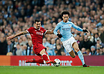 Manchester City's Leory Sane tussles with Liverpool's Dejan Lovren during the Champions League Quarter Final 2nd Leg match at the Etihad Stadium, Manchester. Picture date: 10th April 2018. Picture credit should read: David Klein/Sportimage