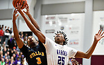 OFallon guard Latrell Bonner (left) and Collinsville forward David Granger fight for a rebound. Collinsville played OFallon in a Class 4A Pekin boys basketball sectional semifinal game at Belleville West High School in Belleville, Illinois on Tuesday March 10, 2020. <br /> Tim Vizer/Special to STLhighschoolsports.com