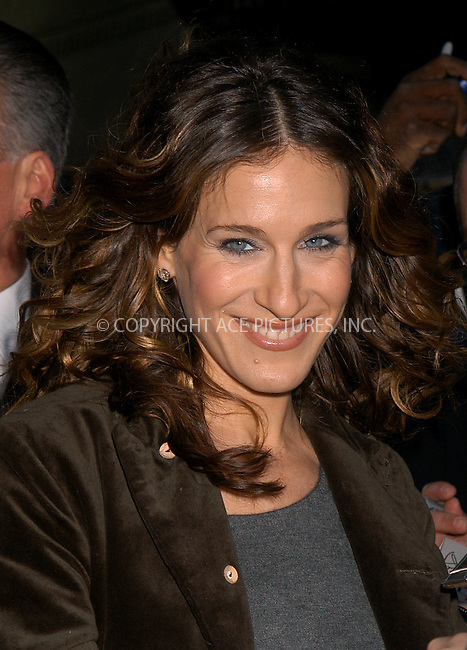Sarah Jessica Parker making an appearance on the 'Letterman Show.' New York, February 19, 2004. Please byline: AJ SOKALNER/ACE Pictures.   ..*PAY-PER-USE*      ....IMPORTANT: Please note that our old trade name, NEW YORK PHOTO PRESS (NYPP), is replaced by new name, ACE PICTURES. New York Photo Press and ACE Pictures are owned by All Celebrity Entertainment, Inc.......All Celebrity Entertainment, Inc:  ..contact: Alecsey Boldeskul (646) 267-6913 ..Philip Vaughan (646) 769-0430..e-mail: info@nyphotopress.com