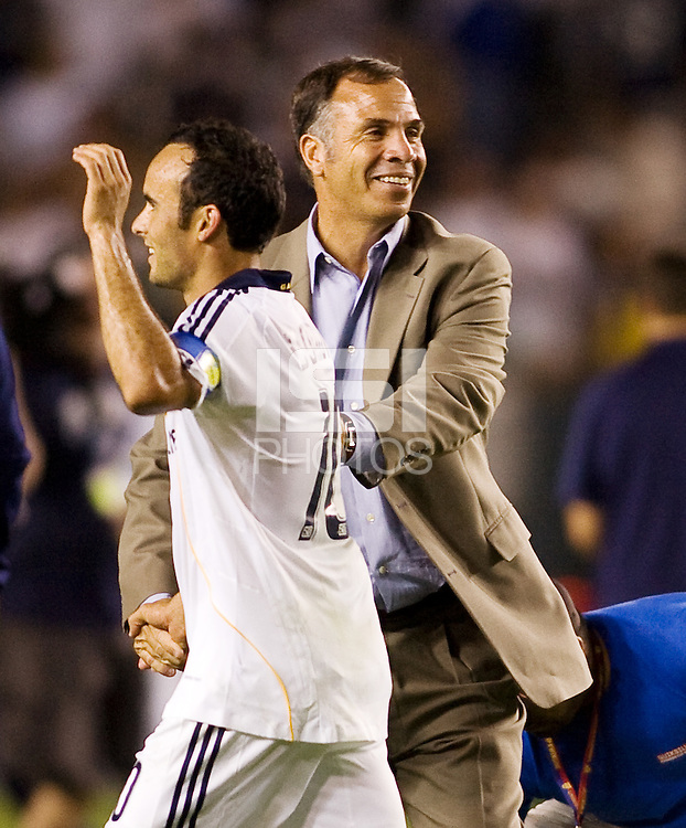 LA Galaxy midfielder Landon Donovan and head coach Bruce Arena congratulate one another after their victory. The LA Galaxy defeated Chivas USA 1-0 to win the final edition of the 2009 SuperClásico at Home Depot Center stadium in Carson, California on Saturday, August 29, 2009...
