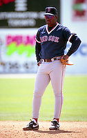 Boston Red Sox first baseman Mo Vaughn (42) during spring training circa 1992 at Dunedin Stadium in Dunedin, Florida.  (MJA/Four Seam Images)