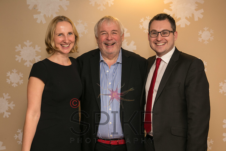 Christopher Biggins pictured with club sponsors Annabel Whitaker and Nic Elliott from Actons