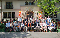 Jack Samuelson '46 and Sally Samuelson '48 and their family.<br /> Occidental College kicked off a yearlong celebration of its 125th anniversary on Friday, April 20, 2012 with an 1887-style carnival in the Quad, complete with Ferris wheel. The Founders Day celebration also featured a ribbon-cutting ceremony for the new Samuelson Alumni Center, announcement of several major gifts, and a series of panel discussions by distinguished alumni on the future of Wall Street, online entrepreneurship, and the business of movies. At a special dinner, President Jonathan Veitch delivered an ambitious vision of the future. (Photo by Marc Campos, Occidental College Photographer)