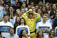 CHAPEL HILL, NC - FEBRUARY 1: A University of North Carolina fan reacts after a call during a game between Boston College and North Carolina at Dean E. Smith Center on February 1, 2020 in Chapel Hill, North Carolina.