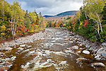 Fall foliage on the Pemigewasset River in the White Mountain National Forest, NH, USA