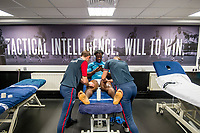 Wilfried Bony of Swansea City receives treatment <br /> Re: Behind the Scenes Photographs at the Liberty Stadium ahead of and during the Premier League match between Swansea City and Bournemouth at the Liberty Stadium, Swansea, Wales, UK. Saturday 25 November 2017