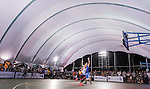 Mo (R) of Taiwan plays against Lu Yu Hui (L) of Taiwan during the Red Bull King of the Rock National Finals at Kaohsiung University basketball court, Kaohsiung, Taiwan, on July 18th 2015.