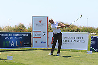 Jacopo Vecchi Fossa (ITA) on the 7th tee during Round 1 of the Rocco Forte Sicilian Open 2018 on Thursday 10th May 2018.<br /> Picture:  Thos Caffrey / www.golffile.ie<br /> <br /> All photo usage must carry mandatory copyright credit (&copy; Golffile | Thos Caffrey)