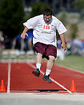 JR Stone, of Elko, competes in the long jump event the Special Olympics Nevada 2013 Summer Games in Reno, Nev., on Saturday, June 1, 2013. <br /> Photo by Cathleen Allison